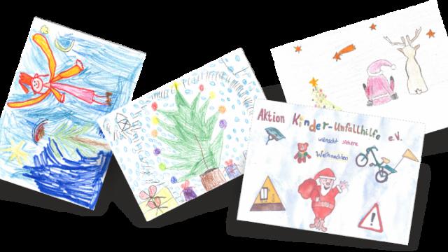Gemalte Weihnachtskarten.Von Kindern Gemalt Die Weihnachtskarten Der Aktion Kinder